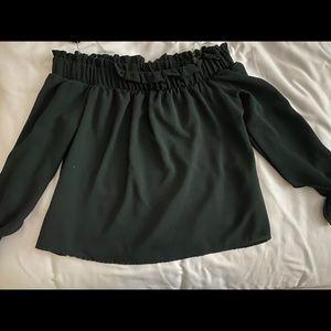 IRIS Dark Green Off the Shoulder Blouse